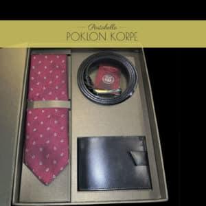 Set kravata kaiš novčanik bordo
